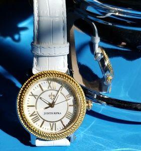 Judith Ripka Diamonique White Leather Watch